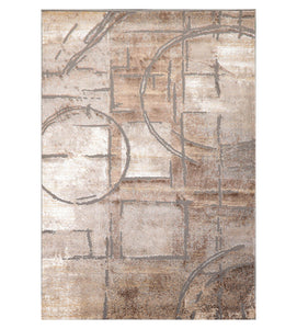 3' x5'  Gray Brown Silver Color Machine Made Persian Polypropylene Modern & Contemporary Oriental Rug