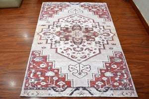 "7' 9""x9' 9"" Beige Taupe Burnt Orange Color Hand Woven Micro Printed Polyester Traditional Oriental Rug"