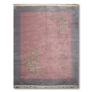 "8'6""x11'6"" Pale Pink, Bluish Gray, Green, Multi Color Traditional European Thick Pile Aubusson Oriental Wool Rug"