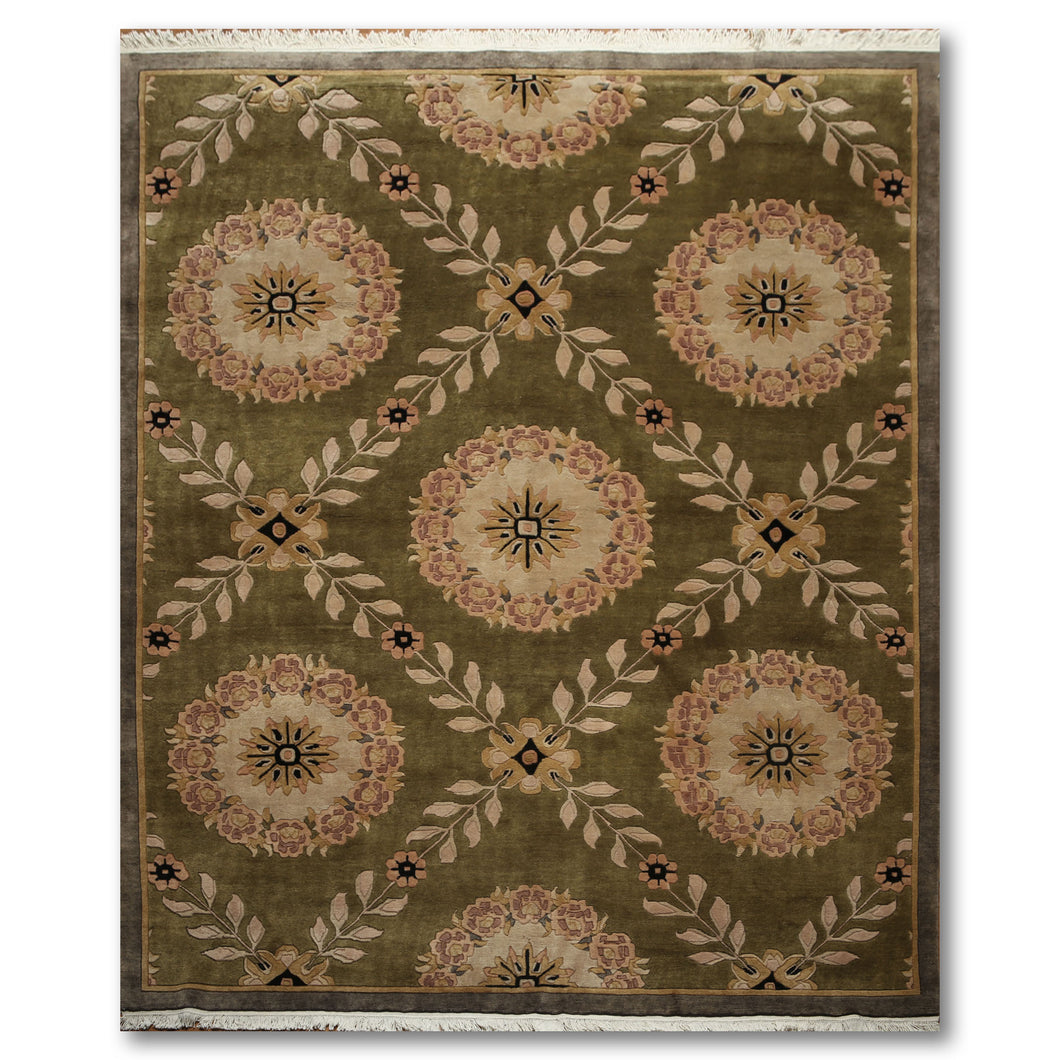 8'x10' Olive, Brown, Beige, Gold, Black, Multi Color Hand Knotted Tibetan Oriental Wool Rug