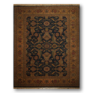 8'x11' Midnight Blue, Dark Beige, Burnt Orange, Green, Rust,  Multi Color Machine Made Tag Missing Karastan Persian Oriental 100% Wool Rug