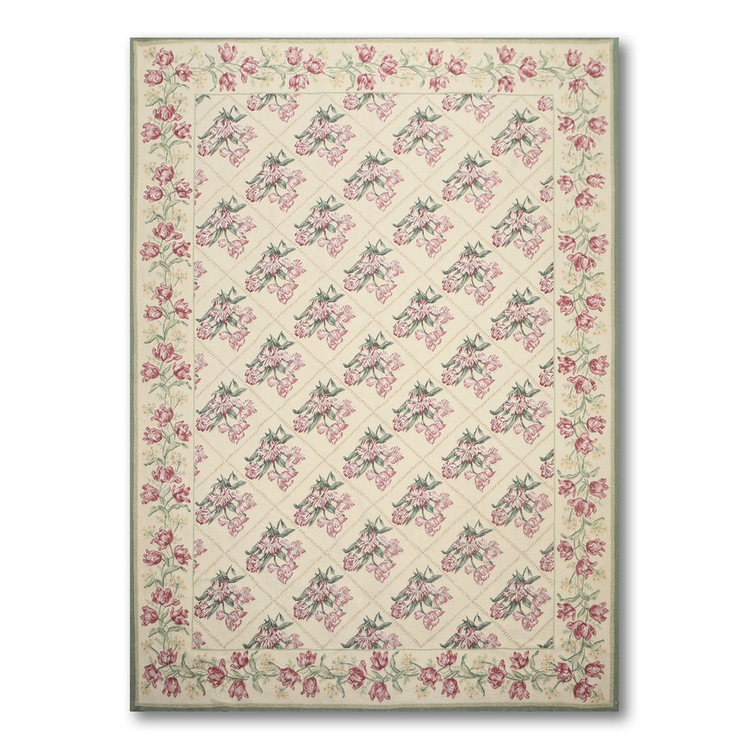 6'x9'  Warm Beige, Sage, Rust, Green, Pale Pink, Multi Color Hand Woven French Needlepoint Aubusson Area Rug
