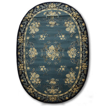 "6'7""x9'11"" Blue, Dark Blue, Ivory, Light Gold, Multi Color Machine Made Persian Oriental Wool Oval Rug"