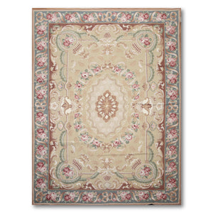 6'x9' Tan, Ivory, Brown, Turquoise, Green, Multi Color Hand Woven Needlepoint Aubusson Oriental Wool Rug