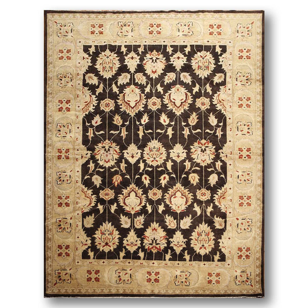 9'x12' Chocolate Brown, WarmBeige, Burnt Orange, Multi Color Hand Knotted 100% Wool Turkish Oushak Oriental  Area Rug