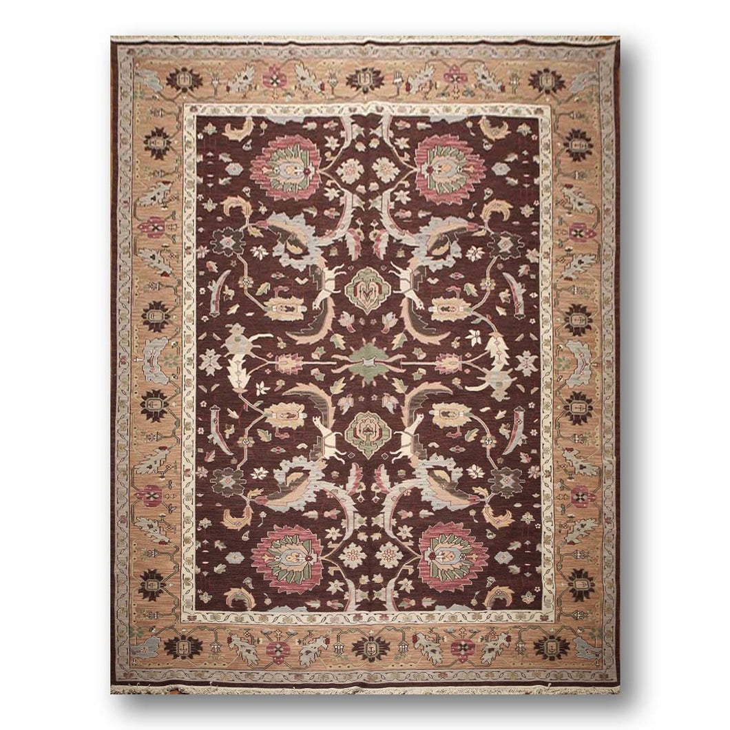 9'x12' Chocolate Brown, Ivory, Rose,Grey, Green, Multi Color Hand Knotted Reversible  Wool Turkish Oushak Oriental  Area Rug