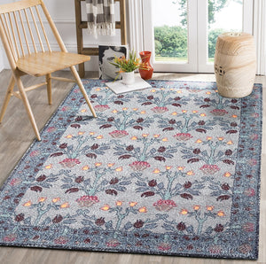 4' 10''x7' 10'' Gray Blue Gold Color Hand Woven Micro Printed Polyester Traditional Oriental Rug