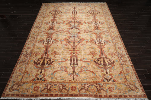 Palace Hand Knotted 100% Wool French Aubusson Savonnerie  Traditional Oriental Area Rug Beige, Brown Color