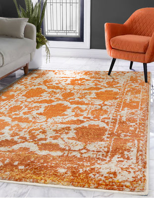 Ivory Beige Orange Color Machine Made Persian style rugs.