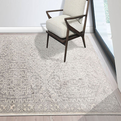 Gray Beige Color Machine Made Persian style rugs.