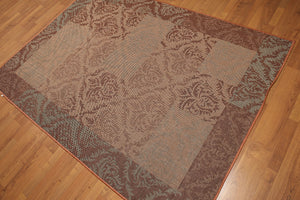 "5'4""x7'8"" Blue, Rust, Multi Color Machine Made Polypropylene Indoor Outdoor Turkish Dhurry Rug"