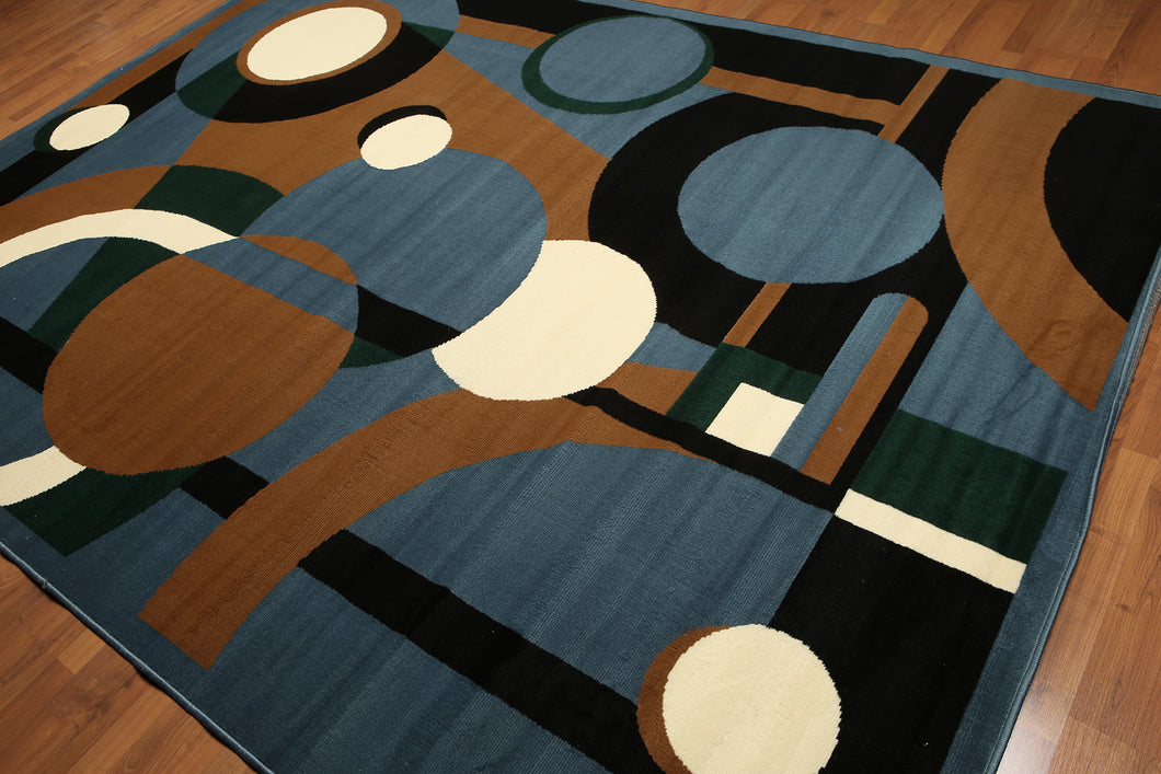 8'x11' Blue, Brown, Ivory, Green, Multi Color Machine Made Polypropylene Indonesian Modern Oriental Rug