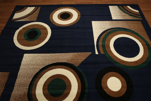 8'x11' Royal Blue, Brown,  Green, Ivory Multi Color Machine Made Polypropylene Indonesian Modern Oriental Rug