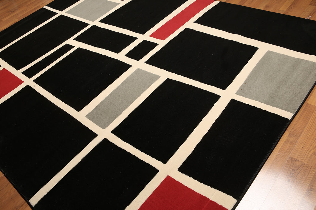 8'x11' Black, Burgundy, Gray, Multi Color Machine Made Polypropylene Indonesian Modern Oriental Rug