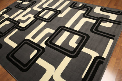 8'x11' Gray, Black, Ivory, Multi Color Machine Made Polypropylene Indonesian Modern Oriental Rug