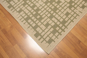 "5'4""x7'8"" Olive Green, Beige, Multi Color Machine Made Polypropylene Indoor Outdoor Turkish Dhurry Rug"