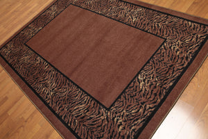 "5'4""x7'8"" Brown, Black Ivory, Multi Color Machine Made Polypropylene Indonesian High Density Hand Carved Effect Modern Oriental Rug"