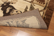 8'x11' Brown, Gray, Black, Multi Color Machine Made Polypropylene Indonesian Modern Oriental Rug