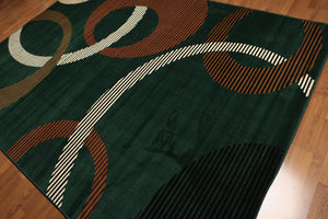8'x11' Green, Ivory, Brown, Multi Color Machine Made Polypropylene Indonesian Modern Oriental Rug