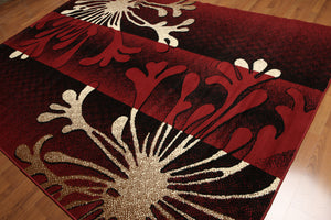 8'x11' Burgundy, Ivory, Brown, Multi Color Machine Made Polypropylene Indonesian Modern Oriental Rug