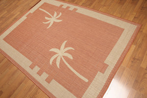 "5'4""x7'8"" Terracota, Beige, Multi Color Machine Made Polypropylene Indoor Outdoor Turkish Dhurry Rug"