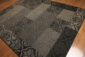 8'x10' Black, Gray Color Machine Made Polypropylene Indoor Outdoor Turkish Dhurry Rug