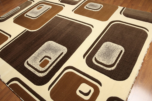 8'x11' Brown, Ivory, Chocolate, Multi Color Machine Made Polypropylene Indonesian Modern Oriental Rug