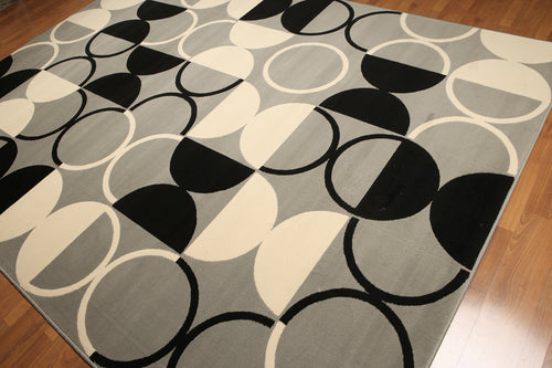 8'x11' Gray, Ivory, Black Color Machine Made Polypropylene Indonesian Modern Oriental Rug