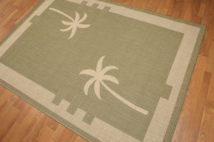 5'x7' Olive Green, Beige, Multi Color Machine Made Polypropylene Indoor Outdoor Turkish Dhurry Rug