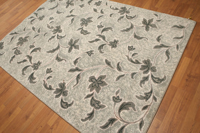 5'x7' Gray, Green, Tone on Tone, Multi Color Machine Made Polypropylene Indonesian High Density Hand Carved Effect Modern Oriental Rug