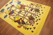 5'x7' Mustard Yellow, Blue, Red, Multi Color Machine Made Polypropylene Indonesian High Density Hand Carved Effect Children Rug