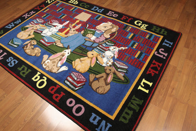 5'x7' Red, Blue, Black, Multi Color Machine Made Polypropylene Indonesian High Density Hand Carved Effect Children Alphabet Rug