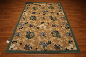 5'x7' Tan, Green, Blue, Multi Color Machine Made Polypropylene Indonesian High Density Hand Carved Effect Rug