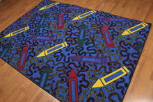 5'x7' Blue, Red, Yellow, Multi Color Machine Made Polypropylene Indonesian High Density Hand Carved Effect Children Crayon Rug