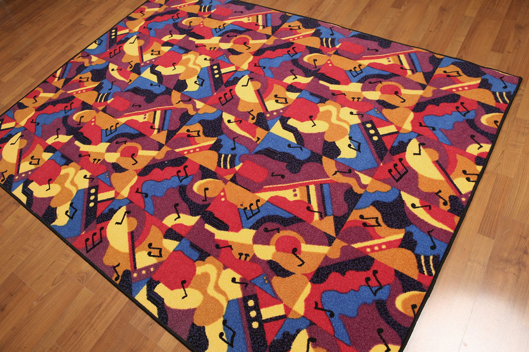5'x7' Blue, Red, Yellow, Multi Color Machine Made Polypropylene Indonesian High Density Hand Carved Effect Musical Note Rug