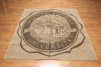 6'x6' Tan and Brown Color Hand Knotted Tibetan Oriental Western Kentucky University Rug