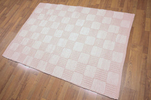 4'x6' Baby Pink and Baby Blue Color Hand Woven Braded American Wool Rug