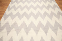 8'x10' Beige and Gray Color Hand Woven Kilim Dhurry 100% Wool Rug