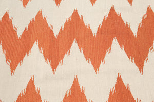 7'x9' Beige and Burnt Orange Color Hand Woven Kilim Dhurry 100% Wool Rug
