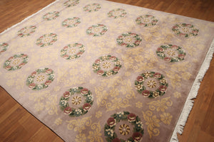 8'x10' Pale Pink, Green, Light Gold, Rust, Multi Color Hand Knotted Abusson  Savonnerie  Pile  Tibetan Area Rug 100% Wool