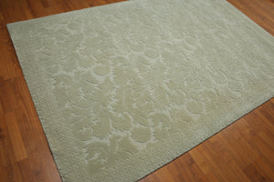 "5'8""x8'9"" Gray Tone on Tone Color Machine Made High Low Modern Oriental Wool Rug"