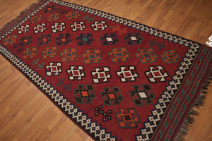 "4'9""'x10'6 Burgundy, Beige, Ivory, Blue, Green,Orange,  Multi Color Hand Knotted Kilim Persian Area Rug 100% Wool"