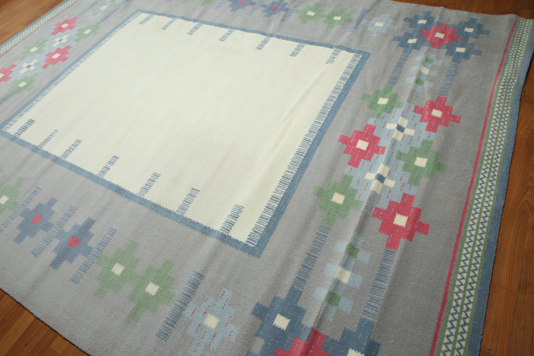 8'x10' Ivory, Blue, Gray, Green, Pink, Multi Color Machine Made Southwestern Look Modern Oriental Wool Rug