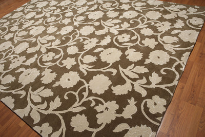 9'x12' Olive, Beige Color Handmade Transitional  Area Rug  Wool & Bambool Silk