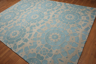 8'x11' Beige & Blue Color Modern Handmade  Area Rug  100% Wool
