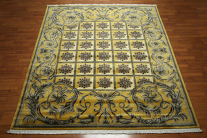 8'x10' Mustard Yellow, Gray, Ivory, Brown, Multi Color Hand Knotted Tibetan Oriental Wool Rug