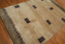 5'x7' Beige, Gray, Aubergene, Multi Color Hand Tufted Persian Oriental Wool Rug