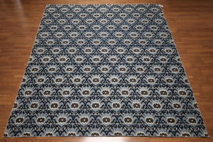 9'x12'  Blue, Navy, Ivory, Grey, Multi Color Hand Knotted Antique Finish 200 KPSI Peshwar 100% Wool Area Rug Thin Pile