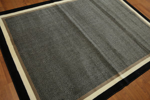 5'x7' Black, White, Ivory, Multi Color Machine Made Harring Bone Oriental Wool Rug