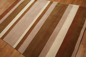"5'6""x8'6"" Brown, Beige, Ivory, Multi Color Hand Tufted Oriental Wool Rug"